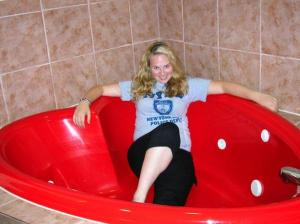 Do not take love advice from the misguided blonde in the heart shaped bathtub!